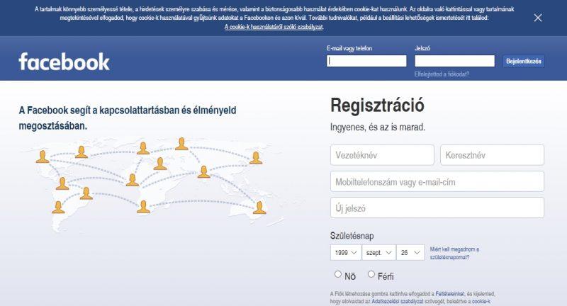 facebook bejelentkezés képernyő