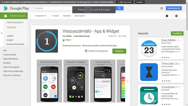 visszaszámláló app google play