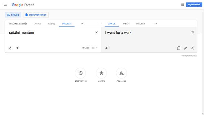 google fordító oldala