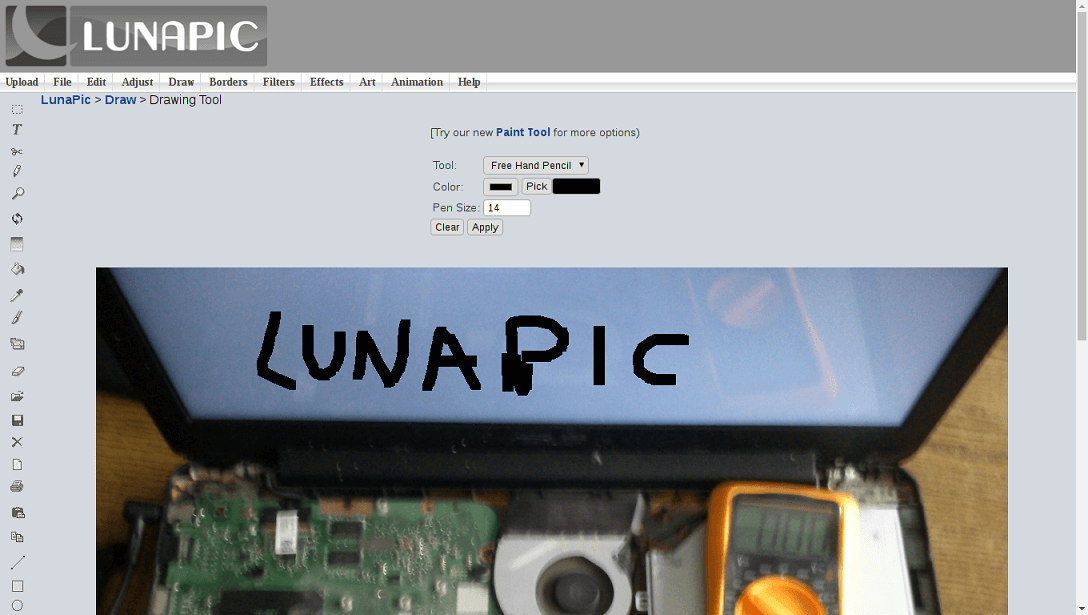 online képszerkesztők lunapic