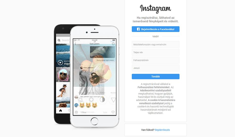 instagram használata telefonon